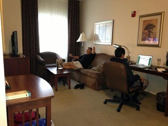 Staybridge Suites Columbus Ft. Benning: view of living room from kitchen.