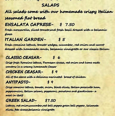 Our Pasta Menu - Picture Of Little Italy Italian Kitchen