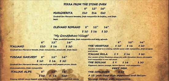 Little Italy Italian Kitchen: Our Specialty Pizzas