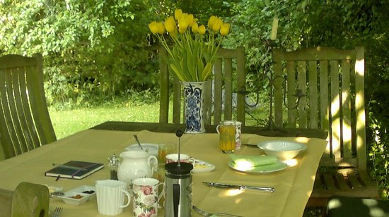 Orchard Pond Bed and Breakfast: Breakfast outside