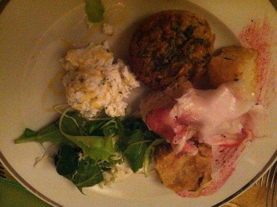 Restaurant Antica Osteria : antipasto con focaccia e lardo, tortino di verdure e ricotta