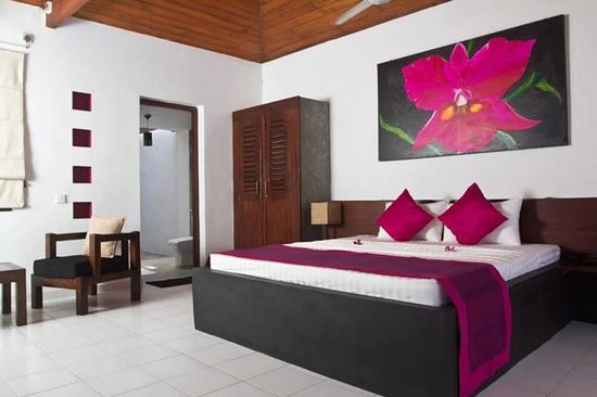 Cattleya Villa: Our room with an roofless shower cubical and terrace opening to the pool