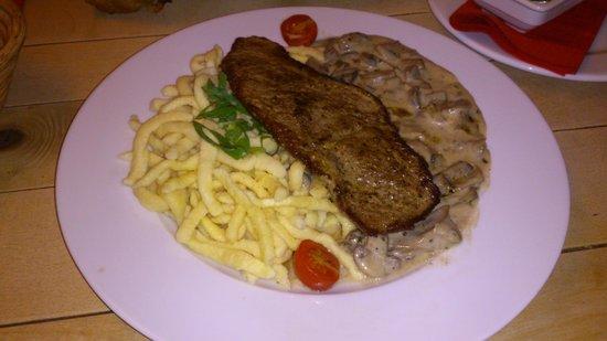 Restaurant Schnitzelei: mushroom and spaetzle schnitzel
