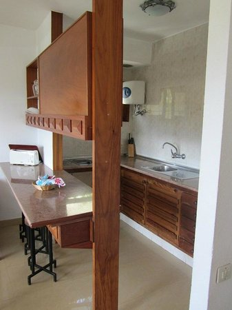 Africana Apartments: Sitting room and kitchen