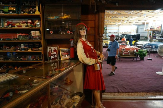 Owner Peggy Napoli made the cloths that adorn the mannequins inside the Motion Unlimited Museum