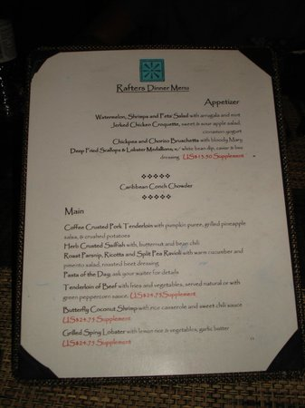 Bolans, Antigua: Typical evening menu