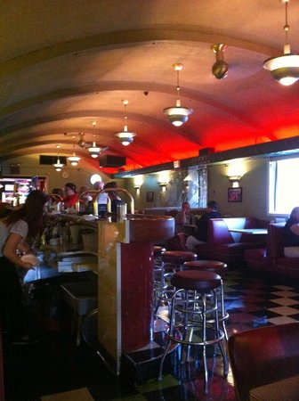 Quonset Pizza: Neat atmosphere inside the restaurant. Seemed to be an old bomb shelter type building?