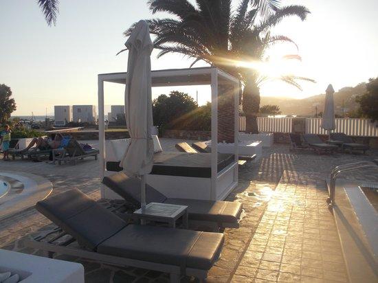 Dionysos Seaside Resort : lits près de la piscine matelassé imitation cuir