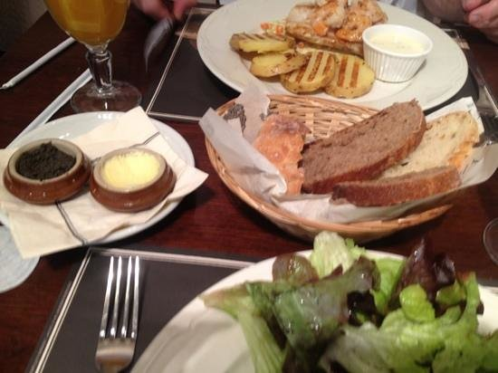Paul: assortment of breads with whipped butter olive paste
