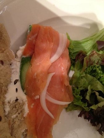 Paul: smoked salmon cucumber onion cream cheese on nut bread with salad