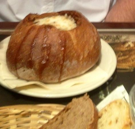 Paul: French onion soup in bread bowl