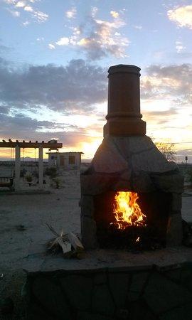 blazing sunset and blazing fire