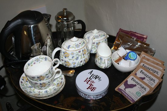 Cross Lane House: Tea tray in our bedroom with yummy home made biscuits