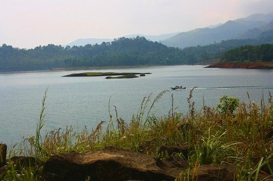 Speed boating at Banasura Sagar Dam