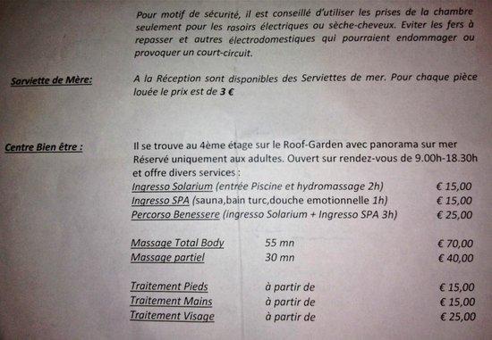 Acacia Resort Parco dei Leoni: Tarifs des soins de bien-être ACACIA Hôtel