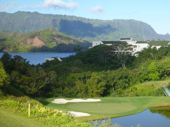 Princeville Makai Golf Club : 打ち下ろしのショートホール