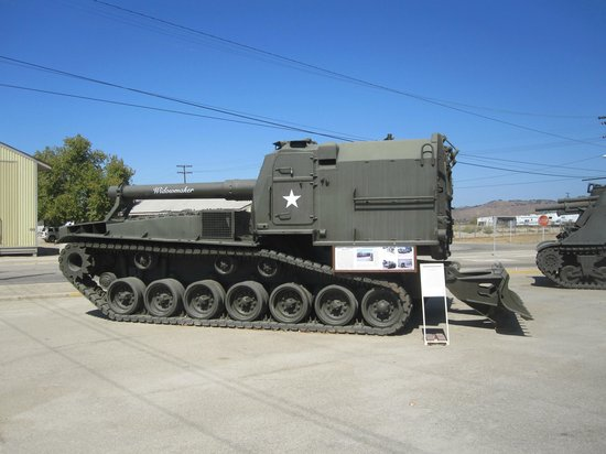 Camp Roberts Historical Museum: A large collection of tracked vehicles on display.