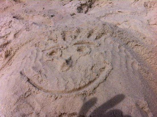 Flamingo Motel: My sandman's smiley face (my legs are underneath!)