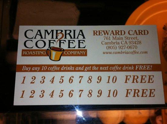 Cambria Coffee Roasting Co.: tarjeta con telefono