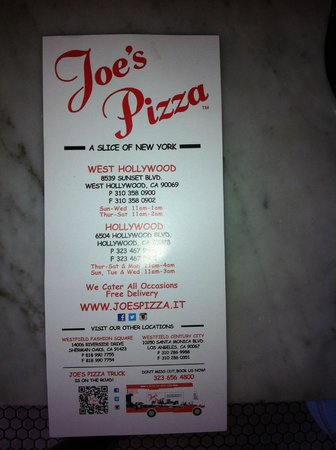 Joe's Pizza on Hollywood