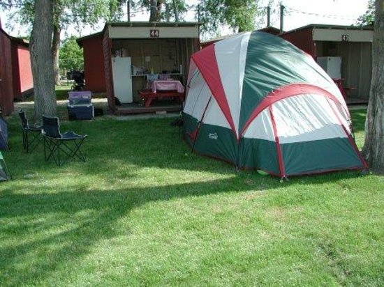 Cabana Beach Campground & RV Park : Spring: Tent site with kitchen cabana.