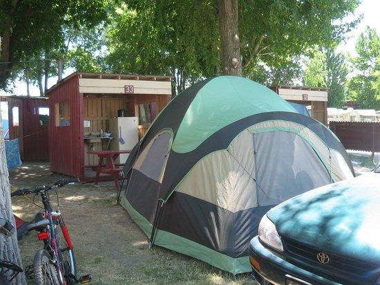 Cabana Beach Campground & RV Park : Summer: Tent site with kitchen cabana.