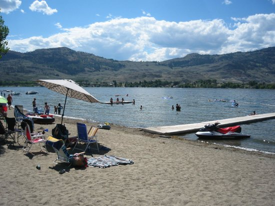 Cabana Beach Campground & RV Park : Private beach and swim area in summer.