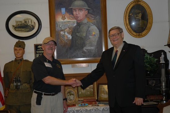 Camp Roberts Historical Museum: Me (on right) shaking hands with Gary McMaster, Museum Curator.
