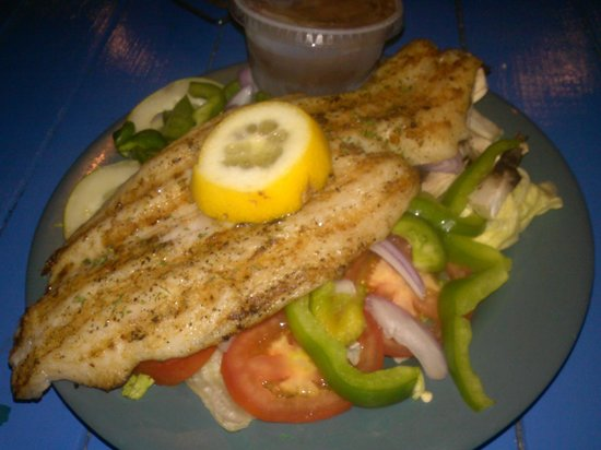 Bummz On The Beach : Grilled tilapia with green salad