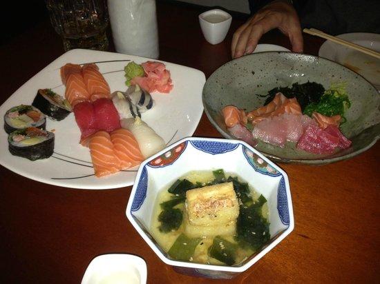 Wabisabi: 寿司・刺身・揚出豆腐(但し食べさし)
