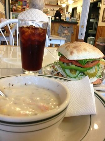 Salmon Chowder Salmon Sandwitch And Sweet Tea Picture Of Chowder