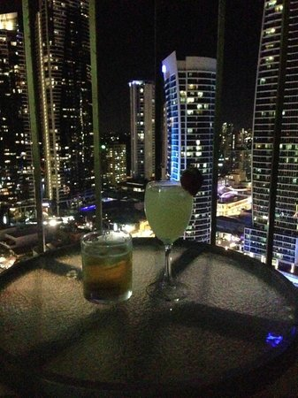 Paradise Centre Apartments: View from balcony & some drinks