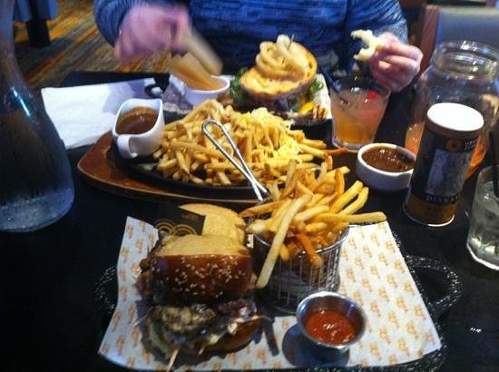 The Merrywell: pulled pork sandwich, BLT and cheesy steak fries