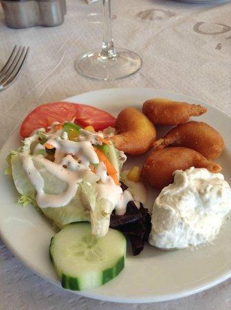 Restaurante Dominique's Fuengirola: Fried Prawns (Strange sauce)