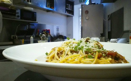 Conti's Cafe: The family recipe.... spaghetti bolognese topped with parmesan cheese... yummy!