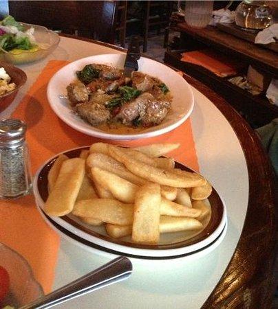 Tavern Restaurant: steak tips and fries