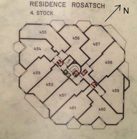 Hotel Rosatsch: Le plan du 4è étage de la résidence