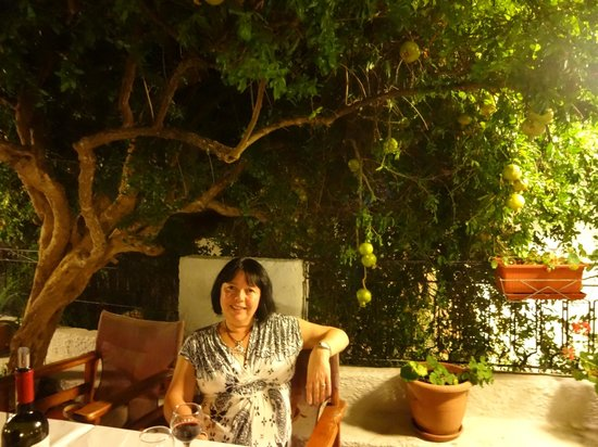 Anna's Restaurant : Our table was under the pomegranate tree in the terrace