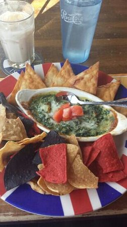 British Beer Company: Spinach and artichoke dip with homemade pita bread and chips. Not the greatest.