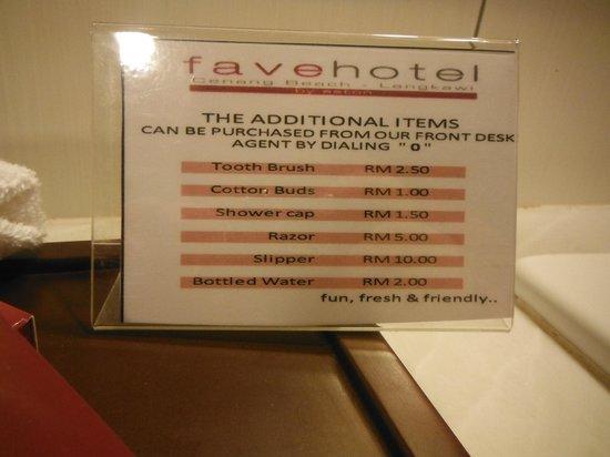 Favehotel Cenang Beach : Produits
