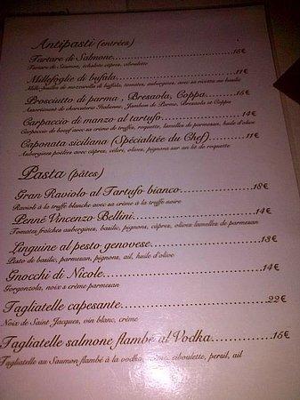Ritchi Italian Ristorante & Lounge : La carte
