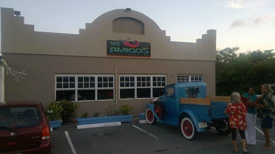 Exterior of Mis Amigos with a Model A Ford parked in front