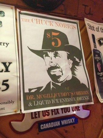 Badlands Saloon and Grille: Advertisement for Chuck Norris drink