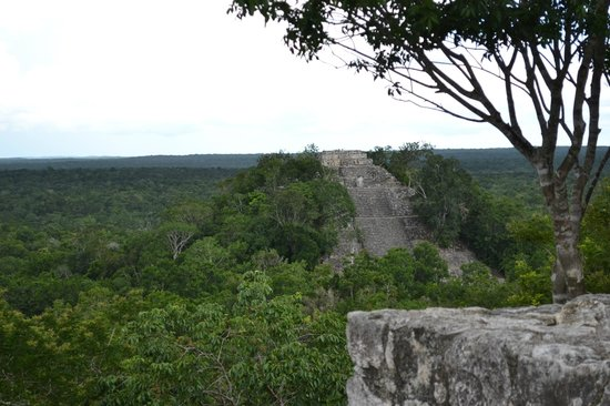 Calakmul Archaeological Zone : View of Structure 1 from Structure 2