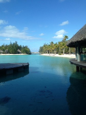 Le Meridien Bora Bora: For breakfast you can sit facing the mountain or the inner lagoon- this is the inner lagoon view