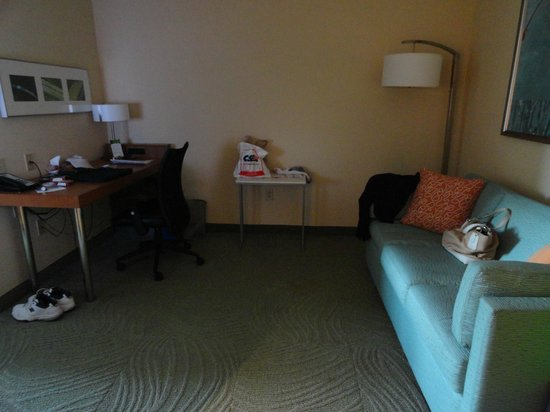 SpringHill Suites Syracuse Carrier Circle: Sofa bed, and desk area