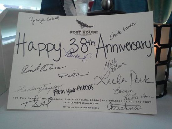 Old Village Post House Inn: Our anniversary card from the staff