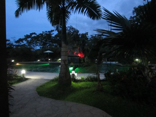 Paradise Hot Springs: View from our dinner table at night