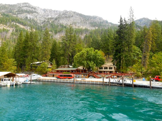 North Cascades Lodge at Stehekin: View of The Lodge at Stehekin from the ferry (yes, the water is often that color!)