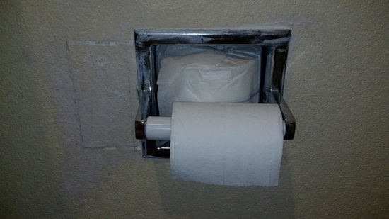 Americas Best Value Inn & Suites Colorado Springs: Poorly patched hole next to toilet paper